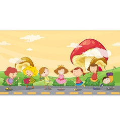 Kids playing at the roadside vector
