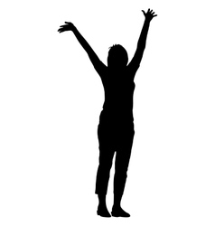 Black silhouette woman with her hands raised vector