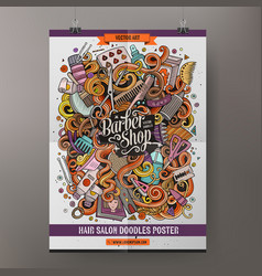 Cartoon doodles hair salon poster vector