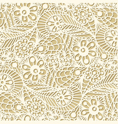 seamless flower paisley lace pattern on beige vector image
