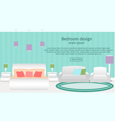 Web design banner of bedroom interior with vector