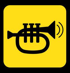 Yellow black sign - trumpet sound icon vector