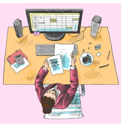 Accountant work place colored vector
