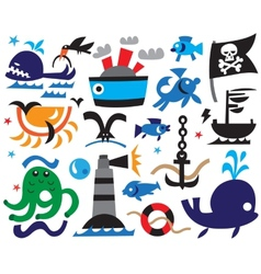 Sea icons vector