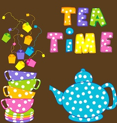 Tea time with stacked cups and kettle vector