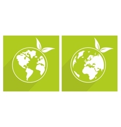 Planet earth green sign vector