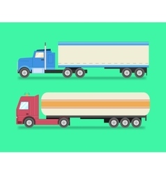 Flat set of icons trucks heavy trucks vector