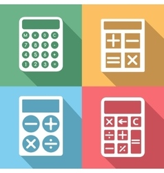 Calculator icons set with long shadow vector