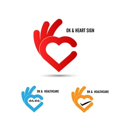Creative hand and heart shape abstract logo vector