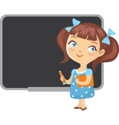 School girl blackboard vector