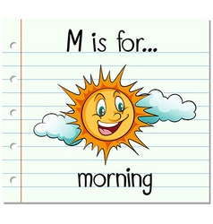 Flashcard alphabet m is for morning vector