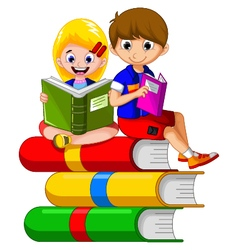 Children cartoon reading on the book vector