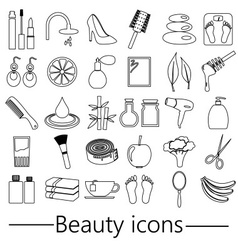 Beauty theme big set of various outline icons vector