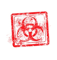 Biohazard sign red grunge rubber stamp vector
