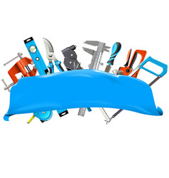 blue banner with hand tools vector image