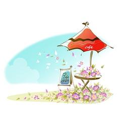 Cafe signboard under an umbrella vector image vector image