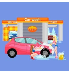Car wash services auto cleaning with water and vector