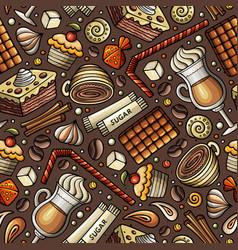 Cartoon coffee shop seamless pattern vector