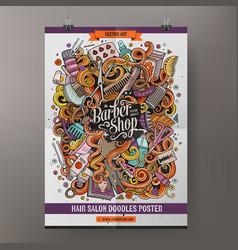 cartoon doodles hair salon poster vector image vector image