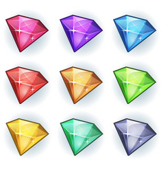 Cartoon gems and diamonds icons set vector