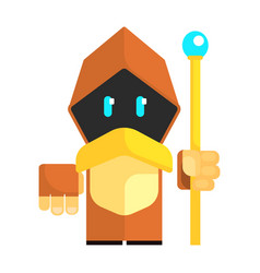 Cartoon gnome in a cape with glowing eyes holding vector