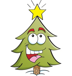 Cartoon Happy Pine Tree vector image vector image