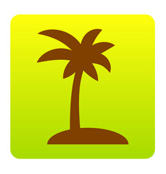 coconut palm tree sign brown icon at vector image vector image