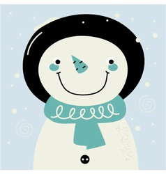 Cute retro stylized hand drawn Snowman vector image vector image