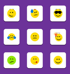 Flat icon emoji set of frown displeased cold vector