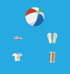 Flat icon season set of wiper boat clothes and vector