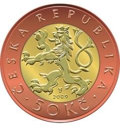 gold Money twenty czech crones coin vector image