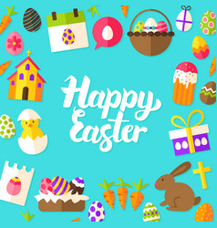 Happy easter lettering postcard vector