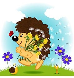 hedgehog with dandelion vector image vector image