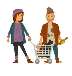 Homeless woman with cart of rubbish and drunk man vector