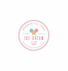 homemade ice cream logo design vector image vector image