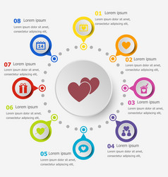 Infographic template with love icons vector