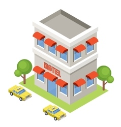 Isometric hotel on a white background vector image vector image