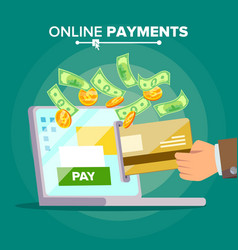 laptop payment transaction and paypass vector image