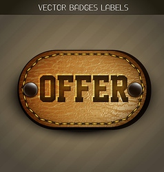 leather offer label vector image vector image