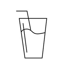 Line water glass to freshness and healthylife vector