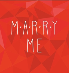 Marry me card with hearts on red wrapping surface vector image