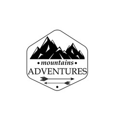 Mountains and outdoor adventures icon with texture vector