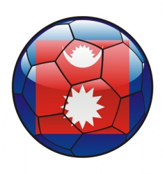 nepal flag on soccer ball vector image vector image