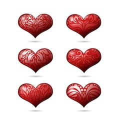 Ornamental hearts set for valentines day vector