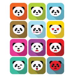 Panda bear flat emotions icons set vector