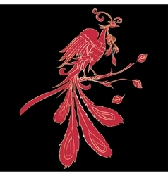 Red silhouette fire-bird vector