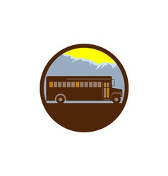 School bus vintage mountains circle retro vector