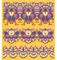 Seamless ethnic yellow paisley stripe pattern vector