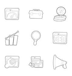 Seo icons set outline style vector