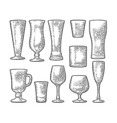 Set empty glass beer whiskey wine gin rum vector